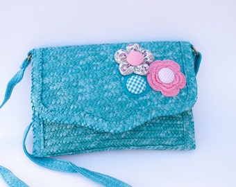Fabric flower shoulder bag, raffia bag, crochet flowers, crochet, handbag, clutch bag, turquoise colour