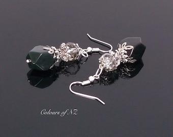 Greenstone (Pounamu) And Silver Drop Earrings