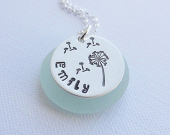 Sterling Silver Name and Dandelion Necklace ~ MY WISH ~ Personalized