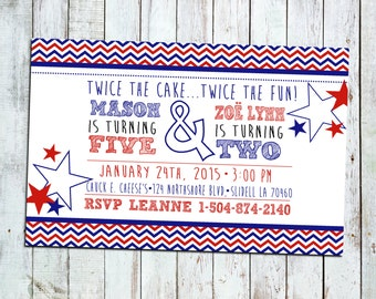 4th of July Sibling Party Invite