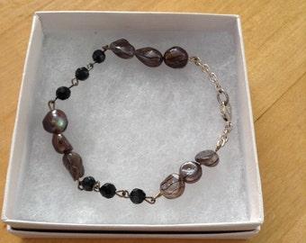 Gray and Black Beaded Bracelet
