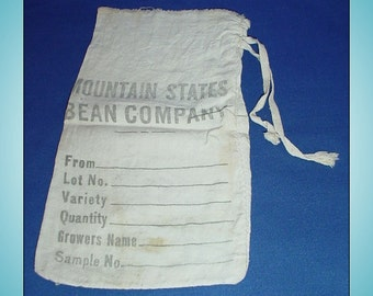 Mountain States Bean Company Vintage Cloth Sack Seed Bag