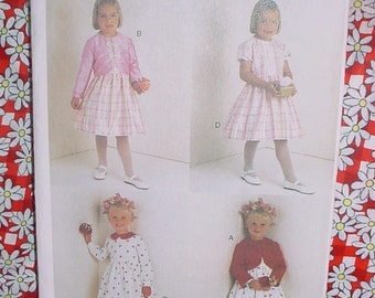 Easter / Spring Dress / Summer Dress and Bolero Jacket ; Flower Girl Vogue Pattern for Little Girls;  Size  6, 7, 8 Vogue #7000