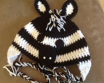 Zebra Crochet Hat