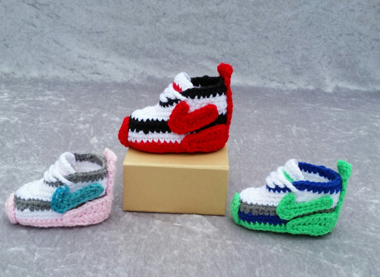 crochet nike inspired tennis shoes handmade crocheted baby. Black Bedroom Furniture Sets. Home Design Ideas