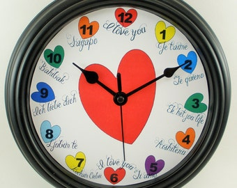 LOVE in Many Languages Wall Clock Novelty Gift