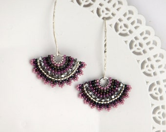 Fan earring, Purple earring, Black dangle earring, Swarovski earrings, Long silver earrings, Black and silver earrings, Long beaded earrings