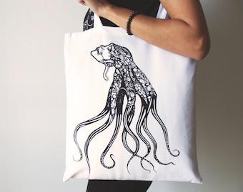 Octopus tote bag, Canvas tote bag, Woman tote bag, Screen printing tote bag, Tote bag, Shopping tote bag, White tote bag, Animal tote bag