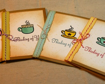 Handcrafted Thinking of You Note Cards - set of 4