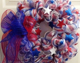 Patriotic Themed Decomesh Wreath