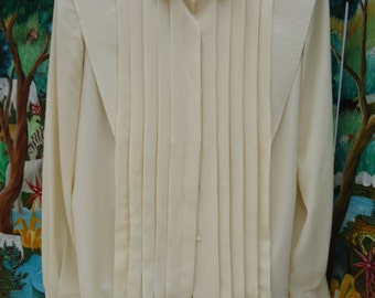Vintage  Classic Business Ware, Philippe Marques, Ivory Blouse, Pleated Front & Back Size 12