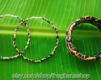 Ankara Wrapped Metal Hoop Earrings w Silver Embellishment & Matching Bangles