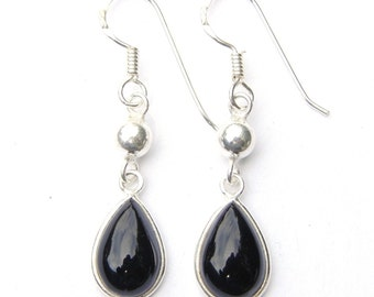 Stunning Hand Made Black Onyx Teardrop Dangling Sterling Silver Earrings