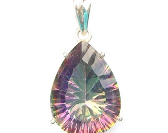 Absolutely Stunning Hand Made Mystic Topaz Teardrop Sterling Silver Pendant