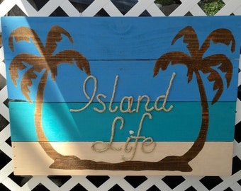 Handmade Island Life with Rope Beach Pallet Art Coastal Decor Rope Art Pallet Art