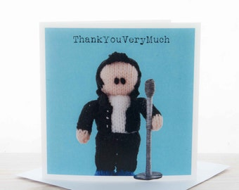 Thank you card - Knitted Elvis 'ThankYouVeryMuch' greeting card