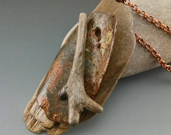 Rusted Metal and Driftwood Pendant #5