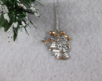 Silver Bells Hand Painted Christmas Ornament with Silver Ribbon