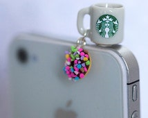 Starbucks Coffee and Sprinkle Donuts dust plug, phone charm, cell phone strap, iphone, ipad