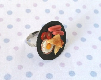 Miniature Plate of Breakfast food, toast, egg, sausage, hot dog, tomato ring with adjustable ring band