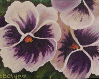 Colourful, white, delicate, pansies on a 5x7 stretched canvas. Original acrylic painting.