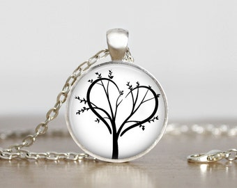 Love tree pendant, silhouette. Comes as a necklace or keychain