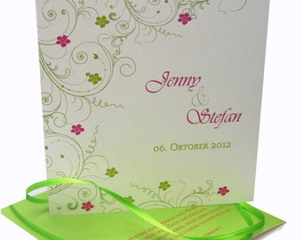 "Wedding card ""green - pink quad."" Greeting card"