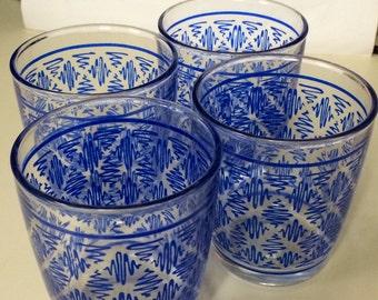 1950's Retro Drinking Glasses - Blue
