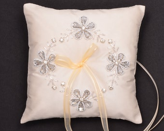 Wedding Ring Bearer Pillow. Ivory Crystal Ring Pillow. DI701.