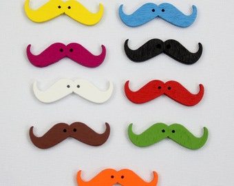 Wooden Mustache Buttons - Available in 9 Colors