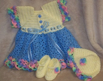 Crochet Baby Rainbow Dress Set