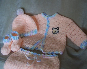 Peach Baby Sweater and Pants Set 3 to 6 months