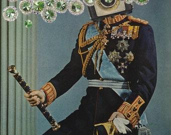 jewels, gems, gem, jewel. vintage, prince, royalty, royal, collage, surreal art, surrealism, wall art, wall decor, vintage art, vintage