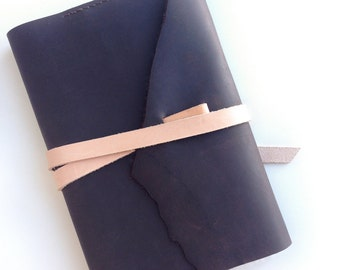 Raw Edge Stone Oiled Leather Moleskine Sketchbook Wrap Cover with Vegetable Tanned Leather Accents