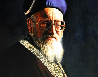 Jewish Painting -Rabbi Mordechai Eliyahu -unique portrait on Canvas by Ori Dvir