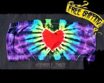 Tie Dye Bandeau - Rainbow Heart Strapless - Hippie Wear - Rave Girl Top - Festival Clothing