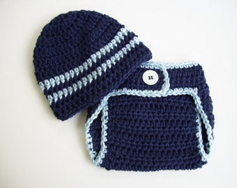 Baby Boy Outfit, Hat and Diaper Cover, Baby Shower Gift, Newborn Photo Prop, Crochet Baby Hat, Baby Boy Hat, Navy Blue, Baby Boy Beanie