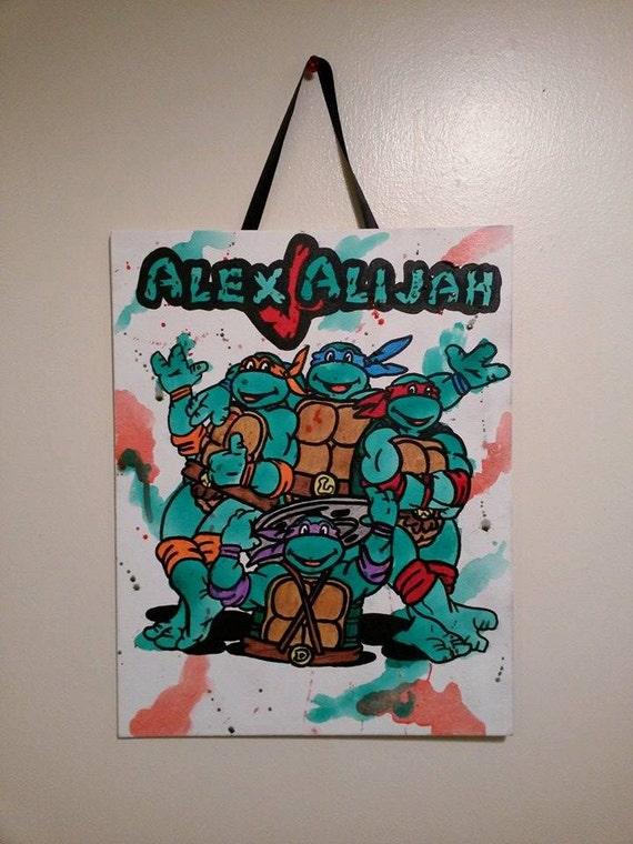 Ninja Turtle Paitning Custom Ninja Turtle Wall By