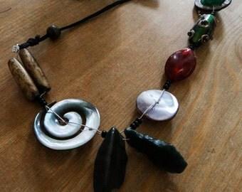 Unique Handmade Gypsy Spiral Asymmetrical Boho Festival Necklace