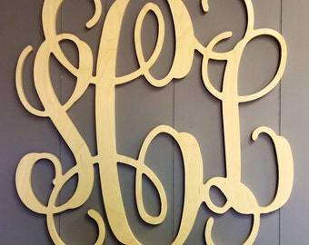 Monograms Three Letter Script Quick Ship Unpainted - Wedding Guest Book - Wall Hanging - Sweetheart Table - Mother of Bride Gift