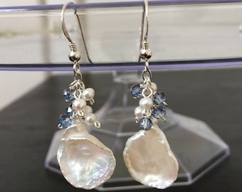 Keshi Pearl with Tanzanite earrings
