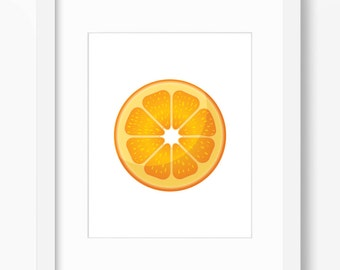 Orange Print, Orange Art, Kitchen Art, Kitchen Print, Fruit Art, Fruit Print, Food Art, Sliced Orange, Orange Wall Art, Orange Art Print