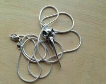 "Simple Antique Silver Crow Skull Bird Gothic Pendant Necklace Bellatrix Lestrange Harry Potter 22"" Silver Snake Chain"