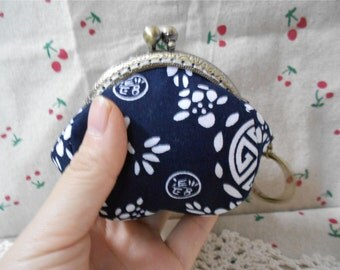 Blue Flowers Mini Change Coin Purse Clutch Wallet