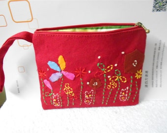 Red Embroidered Change Coin Purse Small Clutch