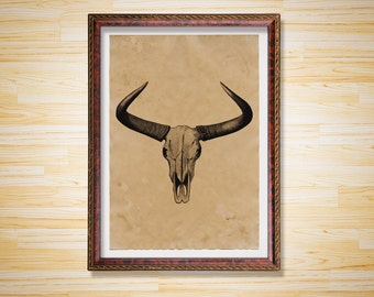 Skull print Animal poster Horns decor