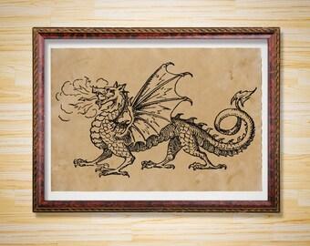 Cabin decor Fantasy poster Dragon print