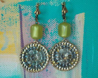 1950's Inspired Refracting Kaleidoscope earrings in shades of blue and green