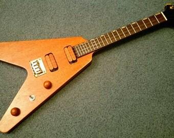 Mahogany and Rosewood Flying V Electric Tenor Ukulele (2/3 size Guitar, 4 String Mandolin/Mandola)