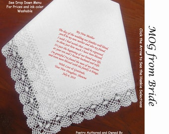 Mother of the Groom Gift Handkerchief  From Bride 0821 Sign & Date Free!  5 MOG Wedding Hankerchief Styles and 8 Ink Colors. Wedding Hankies